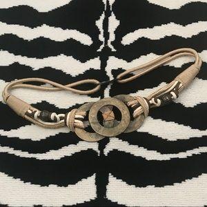 Vtg Hammered Brass Rings & Rope Wide Waist Belt